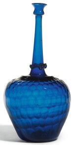 A LARGE MOULD-BLOWN BLUE GLASS SPRINKLER WITH HONEYCOMB DESIGN, PERSIA, 12TH/13TH CENTURY