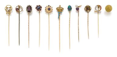 TEN GEM SET STICK PINS AND ONE PIN