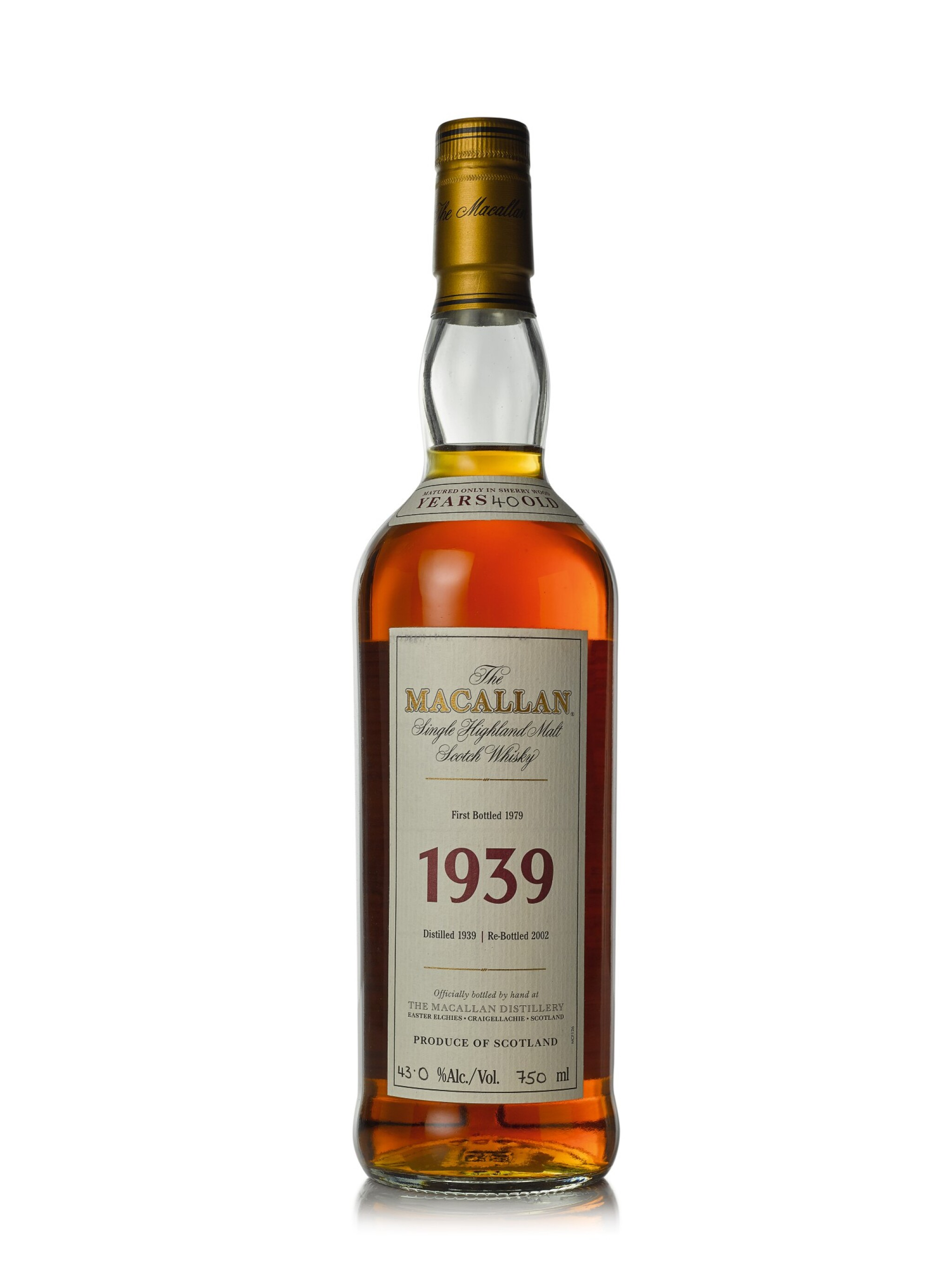 View full screen - View 1 of Lot 28. The Macallan Fine & Rare 40 Year Old 43.0 abv 1939 (1 BT75cl).
