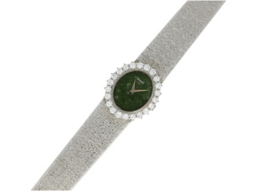 View 4. Thumbnail of Lot 63. PIAGET   REFERENCE 9338 A 6  A WHITE GOLD AND DIAMOND-SET BRACELET WATCH WITH JADE DIAL, CIRCA 1985.