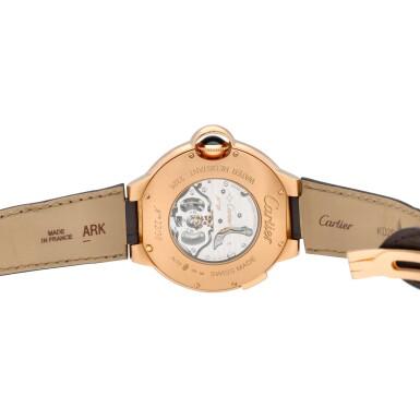 View 5. Thumbnail of Lot 13. Ballon Bleu, Ref. 3326 Limited edition pink gold tourbillon wristwatch with dual time indication Circa 2009.