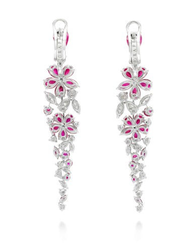 View 3. Thumbnail of Lot 318. GRAFF   PAIR OF RUBY AND DIAMOND EARRINGS, 'CARISSA'.