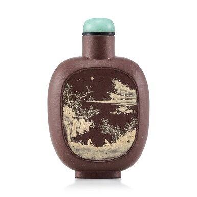 View 1. Thumbnail of Lot 3059. An Yixing Slip-Decorated 'Landscape' Snuff Bottle Qing Dynasty, 19th Century | 清十九世紀 宜興紫砂堆料加彩山水人物圖鼻煙壺.