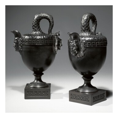 A PAIR OF WEDGWOOD STYLE BLACK BASALT 'FISH TAIL' EWER VASES  20TH CENTURY