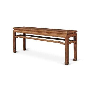 View 4. Thumbnail of Lot 113. A 'huanghuali' corner-leg bench (Errendeng), Qing dynasty, 18th century   清十八世紀 黃花梨有束腰羅鍋棖馬蹄足貳人凳.