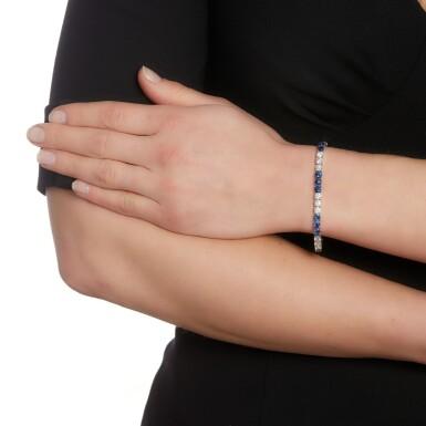 View 4. Thumbnail of Lot 146. Sapphire and diamond bracelet.