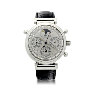 View 1. Thumbnail of Lot 236. REFERENCE 3751 DA VINCI PERPETUAL RATTRAPANTE A LIMITED EDITION PLATINUM AUTOMATIC PERPETUAL CALENDAR SPLIT SECONDS CHRONOGRAPH WRISTWATCH WITH MOON PHASES AND YEAR DISPLAY, CIRCA 1998.