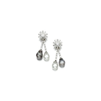 View 1. Thumbnail of Lot 22. PAIR OF CULTURED PEARL AND DIAMOND EAR CLIPS.