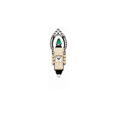 View 2. Thumbnail of Lot 20. Cartier [ 卡地亞] | Gem-Set and Diamond Lapel-Watch, France [寶石配鑽石領錶].