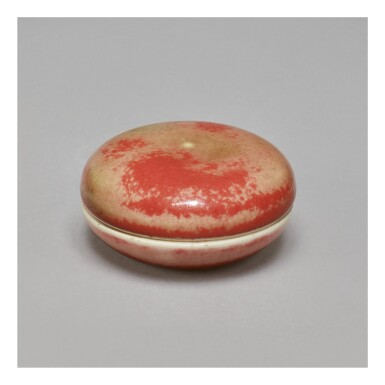A PEACHBLOOM-GLAZED SEAL PASTE BOX AND COVER,  KANGXI MARK AND PERIOD
