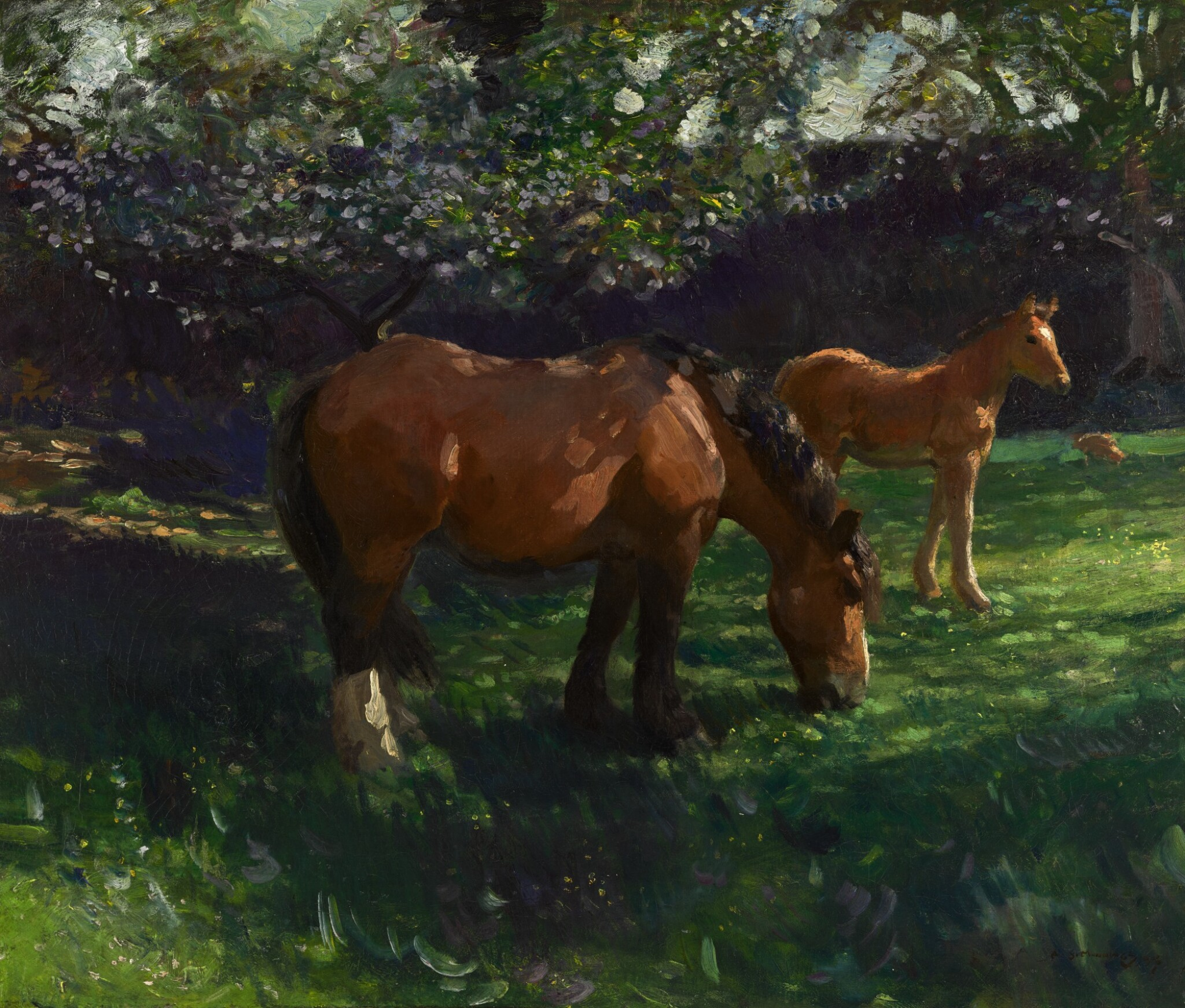 View full screen - View 1 of Lot 179. SIR ALFRED JAMES MUNNINGS, P.R.A., R.W.S., P.R. | SPRINGTIME, APPLE BLOSSOM WITH A MARE AND FOAL.