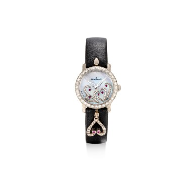 View 1. Thumbnail of Lot 1102. BLANCPAIN | LADYBIRD, REFERENCE 0063B-1954-63A A WHITE GOLD, DIAMOND AND RUBY-SET WRISTWATCH WITH MOTHER-OF-PEARL DIAL, CIRCA 2017.