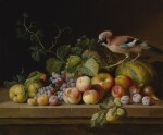 Jakob Bogdány | A STILL LIFE OF MELONS, APPLES, PEACHES, PLUMS, FIGS, GRAPES, AND VINES ON A STONE LEDGE WITH A JAY AND PARROT