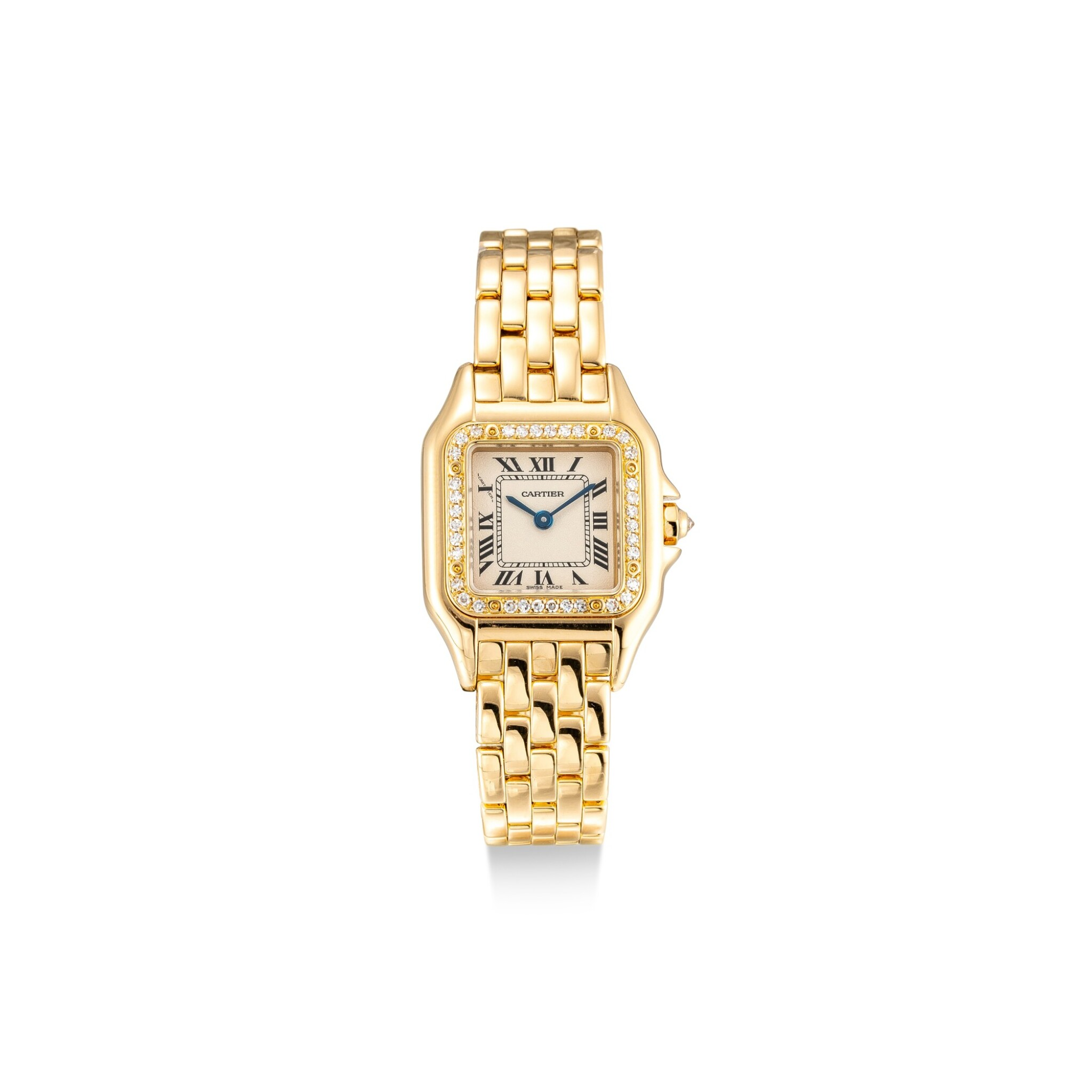 View full screen - View 1 of Lot 8091. CARTIER   PANTHÈRE, REFERENCE 8057915   A YELLOW GOLD AND DIAMOND-SET WRISTWATCH WITH BRACELET, CIRCA 2010   卡地亞   Panthère 型號8057915    黃金鑲鑽石鏈帶腕錶,約2010年製.