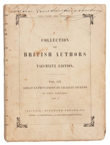 View 3. Thumbnail of Lot 187. Dickens, Great Expectations, 1861, Tauchnitz edition .