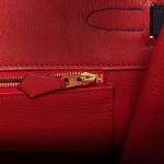 Hermès Horseshoe Stamped (HSS) Bicolor Bleu Nuit and Vermillion Birkin 35cm of Togo Leather with Gold Hardware