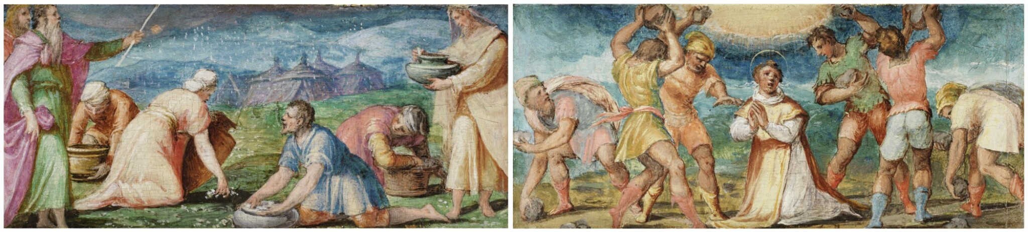 View full screen - View 1 of Lot 129. GIOVANNI BATTISTA NALDINI  |  MANNA FROM HEAVEN; THE STONING OF ST. STEPHEN.