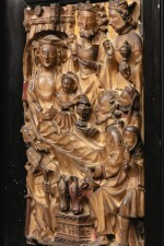 ENGLISH, PROBABLY NOTTINGHAM, SECOND HALF 15TH CENTURY | RELIEF WITH THE ADORATION OF THE MAGI AND THE SHEPHERDS