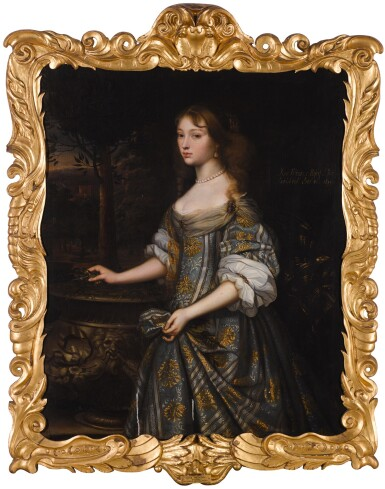 View 2. Thumbnail of Lot 38. Portrait of Jane Monins (c.1640-99), three-quarter length, in a blue and gold dress.