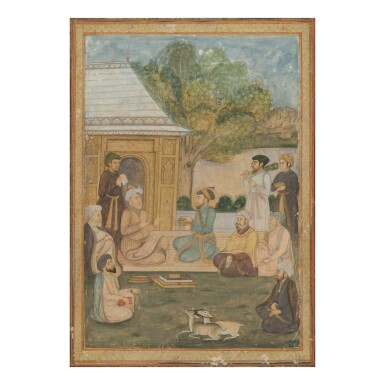 View 1. Thumbnail of Lot 369. A SUFI SAINT AND HIS NOBLE ACOLYTE WITH FOLLOWERS,  INDIA, DELHI, LATE-18TH CENTURY.