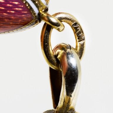 View 3. Thumbnail of Lot 1. An Imperial Fabergé jewelled gold, enamel and hardstone vinaigrette egg pendant, workmaster Henrik Wigström, St Petersburg, 1908.