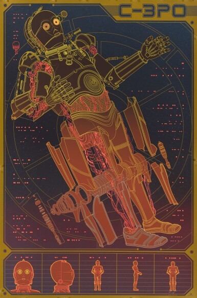 KEVIN TONG, C-3PO STAR WARS MONDO POSTER, LIMITED EDITION 259/325, 2016
