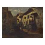 ATTRIBUTED TO ALEXANDRE-GABRIEL DECAMPS | A VILLAGE STREET