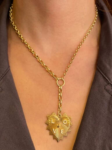 View 2. Thumbnail of Lot 17. Foundrae | 18 Karat Gold and Diamond 'Heart Token' Pendant-Necklace.