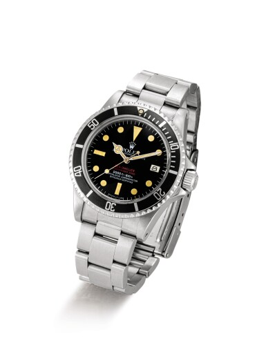 "View 2. Thumbnail of Lot 2111. ROLEX | SEA-DWELLER 'DOUBLE RED', REFERENCE 1665, A STAINLESS STEEL WRISTWATCH WITH DATE AND BRACELET, CIRCA 1976 | 勞力士 | ""Sea-Dweller """"Double Red"""" 型號1665 精鋼鏈帶腕錶,備日期顯示,錶殼編號4190751,約1976年製""."
