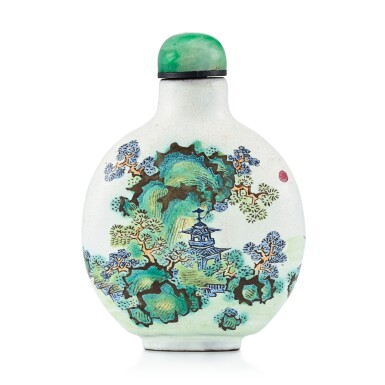 View 1. Thumbnail of Lot 3019. An Enamelled Yixing 'Landscape' Snuff Bottle Qing Dynasty, 19th Century   清十九世紀 宜興紫砂胎畫彩山水圖鼻煙壺.