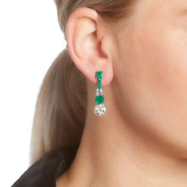 View 4. Thumbnail of Lot 91. PAIR OF DIAMOND AND EMERALD EARRINGS.