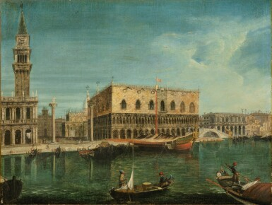 View 1. Thumbnail of Lot 57. Venice, a view of the Molo from the Bacino di San Marco, with the Palazzo Ducale and the Bucentaur.