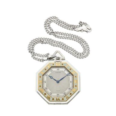 View 2. Thumbnail of Lot 396. A rock crystal, platinum, yellow gold and enamel open faced watch, Circa 1925 .