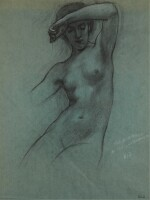 HERBERT JAMES DRAPER | Study of a Water-nymph for 'Prospero Summoning Nymphs and Deities'
