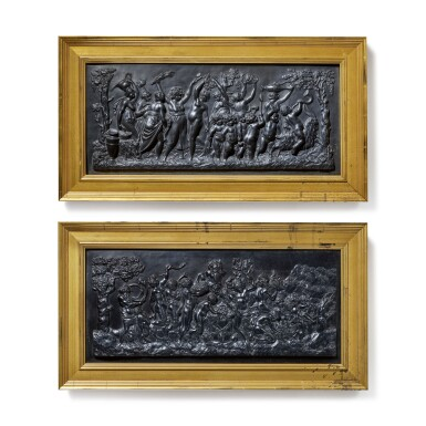 TWO WEDGWOOD BLACK BASALT RECTANGULAR PLAQUES, 'BACCHANALIAN TRIUMPH' AND 'BACCHANALIAN SACRIFICE'  LATE 18TH/EARLY 19TH CENTURY