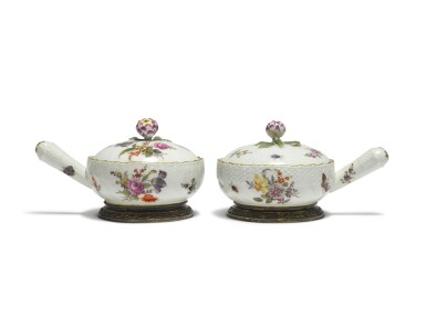 View 4. Thumbnail of Lot 118. A Set of Six Berlin Pan-Form Condiment Boxes and Covers, with Silver-Gilt Mounts, Circa 1760, the Mounts Circa 1900.
