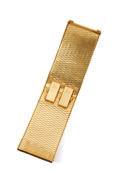 View 3. Thumbnail of Lot 53.  GOLD AND DIAMOND BRACELET-WATCH.