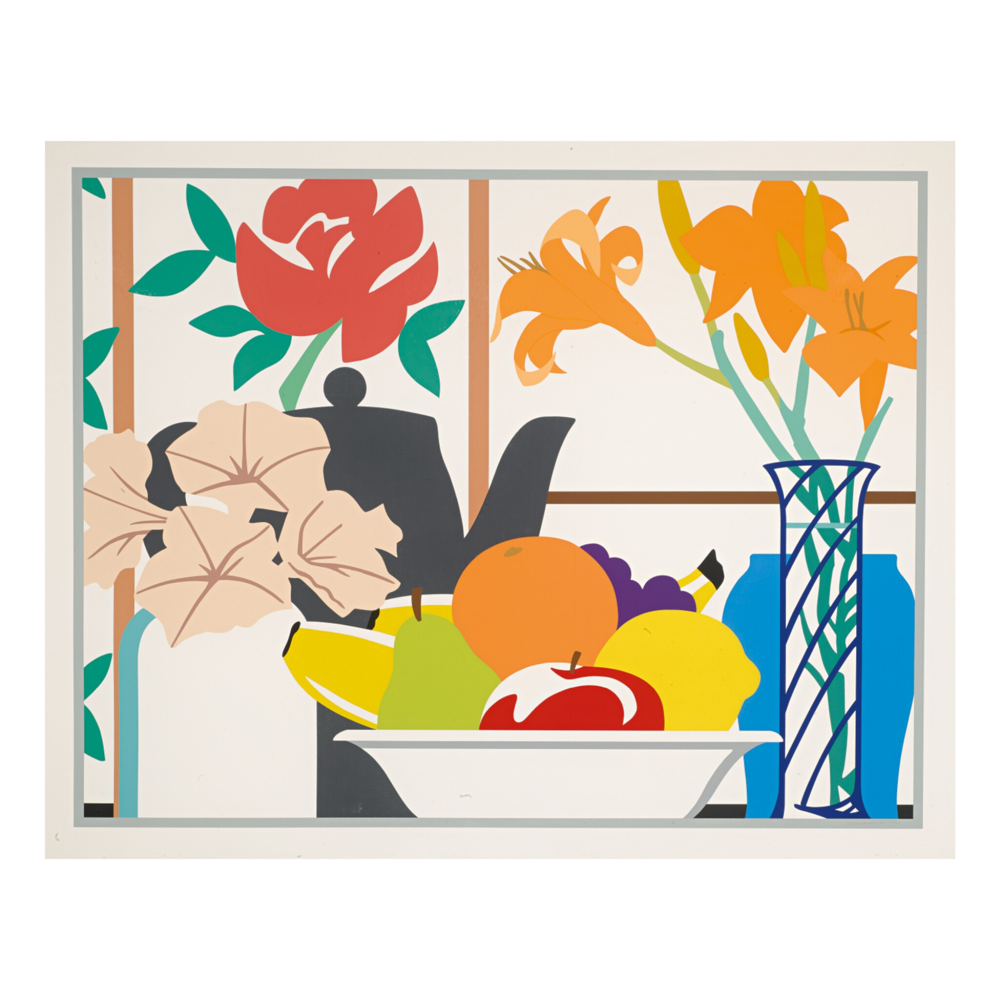 View full screen - View 1 of Lot 303. TOM WESSELMANN   STILL LIFE WITH PETUNIAS, LILIES AND FRUIT.