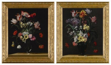 View 4. Thumbnail of Lot 143. JEAN-MICHEL PICART     TULIPS, DAFFODILS, CARNATIONS, POPPIES, ANEMONES, AND OTHER FLOWERS IN A GLASS VASE ON A WOODEN LEDGE;  TULIPS, LILIES, DAFFODILS, LILACS, AND OTHER FLOWERS IN A GLASS VASE ON A WOODEN LEDGE: A PAIR.