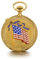 AMERICAN WATCH CO., WALTHAM  [ American Watch Co., 沃爾瑟姆]  | A GOLD HUNTING CASED KEYLESS LEVER CHRONOGRAPH WATCH WITH ENAMEL AND DIAMOND-SET AMERICAN AND NAVAL FLAGS  CIRCA 1887, MODEL 1874, NO. 2809948   [ 黃金精密計時懷錶飾畫琺瑯及鑲鑽石美國及海軍旗幟圖案,年份約1887,型號1874,編號2809948]