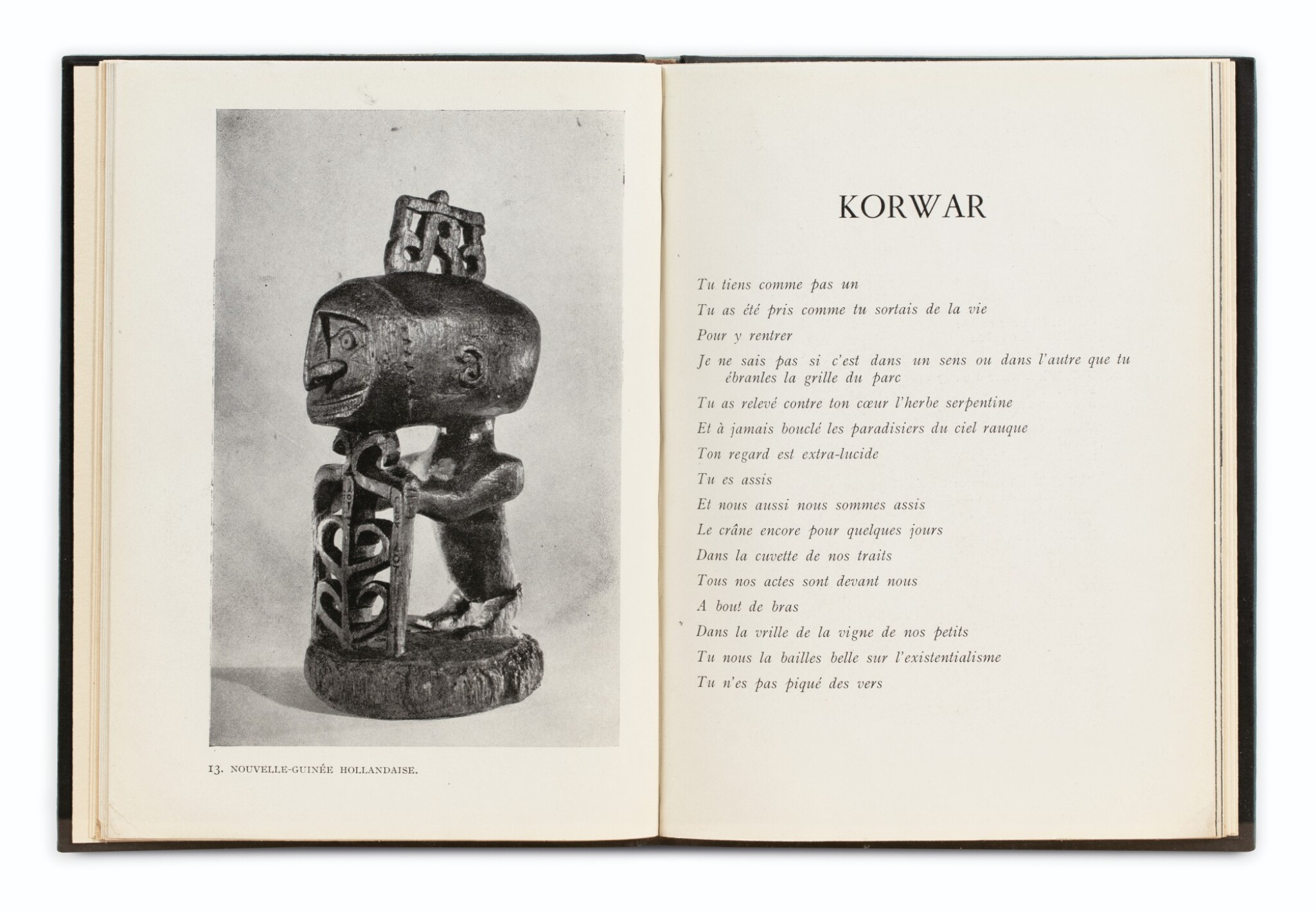 View full screen - View 1 of Lot 91. BRETON, André. Océanie. 1948. Catalogue d'expo. Reliure maroquin bleu d'Annick Vatant.