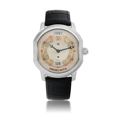 DANIEL ROTH  | METROPOLITAN 24 CITIES, REF 857.ST   STAINLESS STEEL WORLD-TIME WRISTWATCH WITH 24-HOUR INDICATION   CIRCA 2005