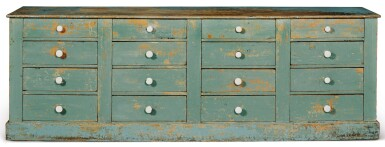 BLUE-PAINTED PINE STORE COUNTER FITTED WITH SIXTEEN DRAWERS, PROBABLY VERMONT, CIRCA 1880