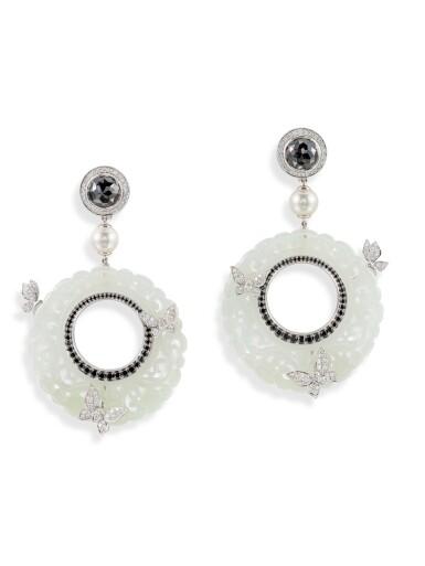 View 1. Thumbnail of Lot 8013. Pair of Jade, Diamond and Cultured Pearl Pendent Earrings | 翡翠 配 鑽石 及 養殖珍珠 耳環一對.