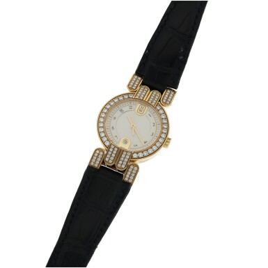 View 2. Thumbnail of Lot 77. HARRY WINSTON   EXCENTER, A YELLOW GOLD AND DIAMOND SET CENTER SECONDS WRISTWATCH WITH DATE CIRCA 2005.