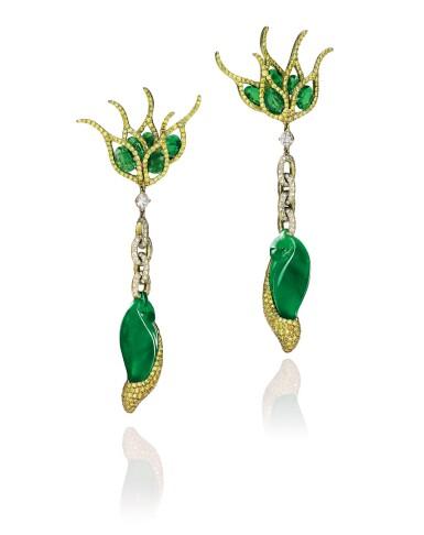View 1. Thumbnail of Lot 1649. Wallace Chan | Pair of Jadeite, Tsavorite Garnet and Diamond Pendent Earrings | 陳世英 | 天然翡翠 配 沙弗來石 及 鑽石 耳墜一對.