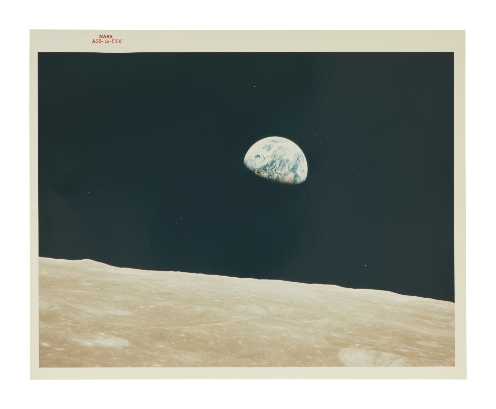 """View full screen - View 1 of Lot 82. [APOLLO 8]. EARTHRISE. VINTAGE NASA """"RED NUMBER"""" PHOTOGRAPH."""