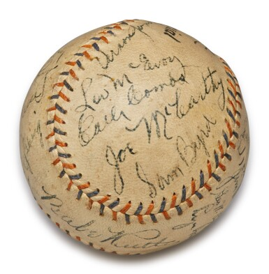 View 2. Thumbnail of Lot 146. New York Yankees | 1931 New York Yankees Autographed Baseball, signed by 10 Hall of Famers, from the Copeland Collection.