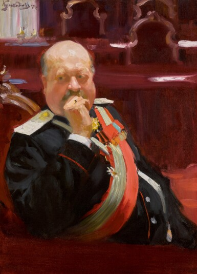 View 1. Thumbnail of Lot 54. BORIS MIKHAILOVICH KUSTODIEV   Portrait of Count Alexei Pavlovich Ignatiev.