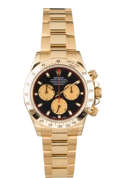 View 1. Thumbnail of Lot 9. ROLEX | Daytona, Ref 116528 A Yellow Gold Chronograph Wristwatch with Bracelet Circa 2001.